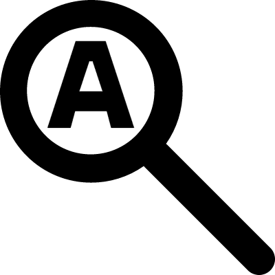 Search symbol of a magnifier with a letter inside vector logo