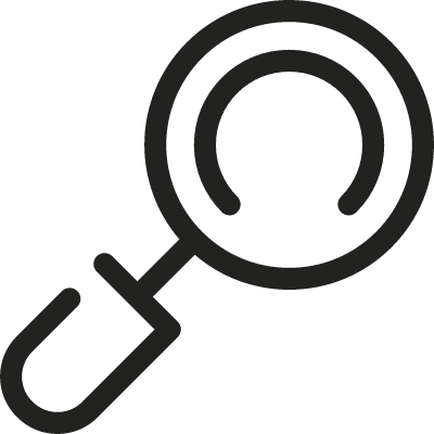 Inclined Magnifying Glass vector logo