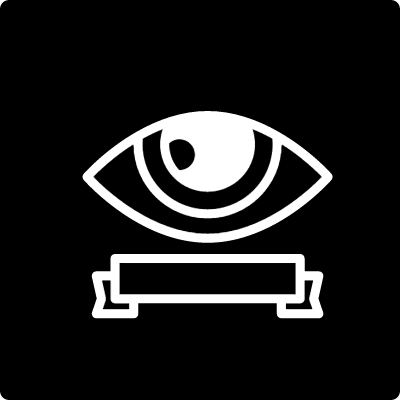 Surveillance eye symbol with a banner inside a square vector logo