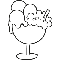 Ice cream cup doodle vector