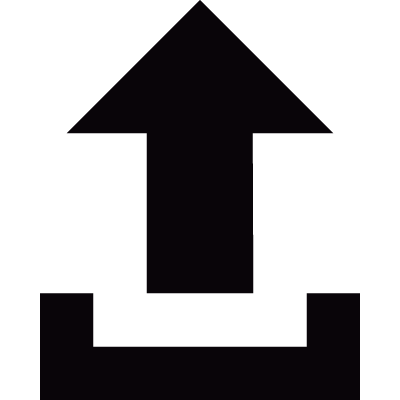 Small upload button with an arrow vector logo