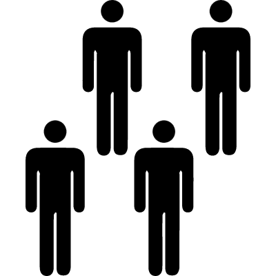 Persons in group of four vector logo