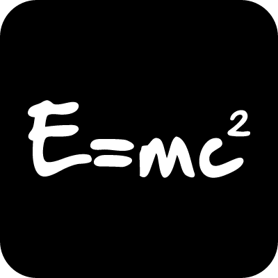 Physics formula of energy in a square vector logo