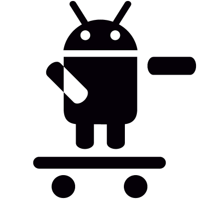 Android On Skateboard with Left Arm Raised logo