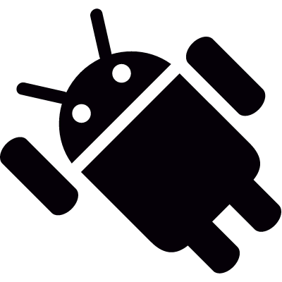 Android with Left Arm Up vector logo
