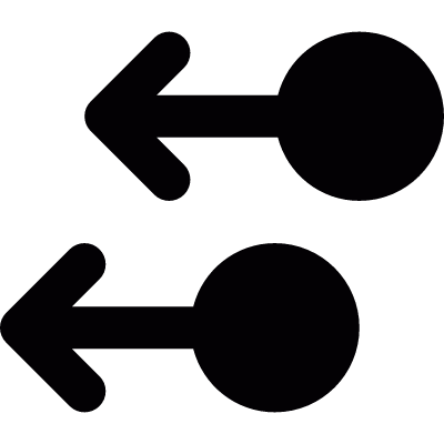 Two arrows pointing left vector logo