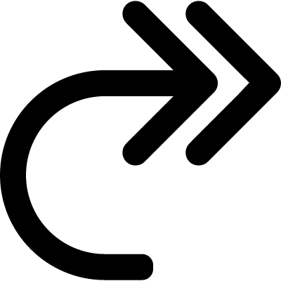 Double curve arrow to the right vector logo