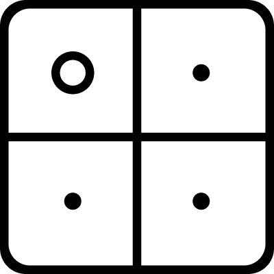 Square of four squares with dots inside vector logo