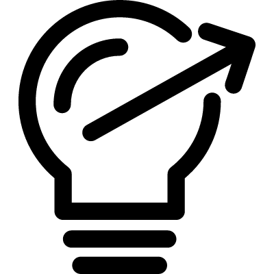 Light bulb outline with thin arrow to the right vector logo