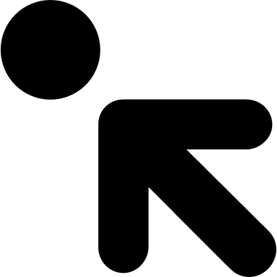Arrow pointing to upper left to a circle vector logo