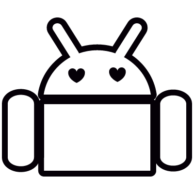 Android with Heart Shape Eyes vector logo