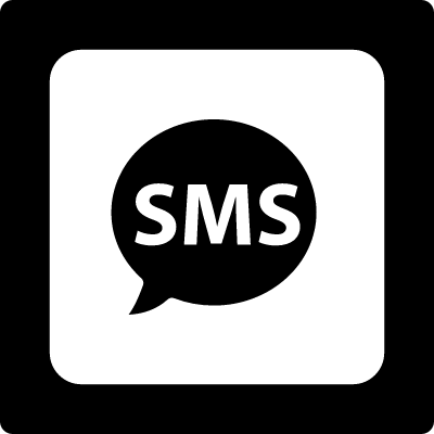 Sms in a speech bubble in a double square vector logo
