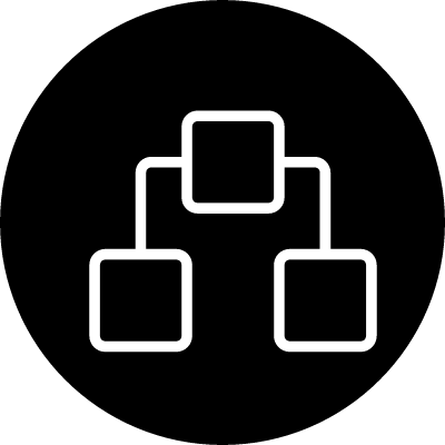 Network outline symbol in a circle vector logo