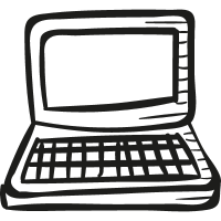 Draw Open Laptop vector