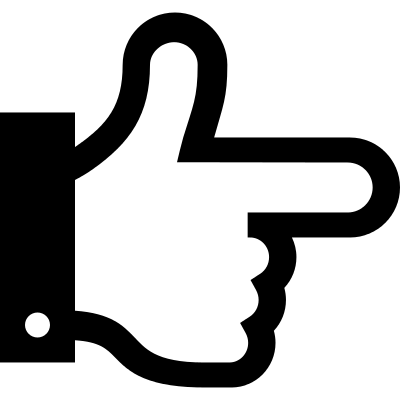 Hand outline pointing to the right vector logo