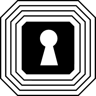 Keyhole shape in a square with points in angles surrounded by many outlines vector logo