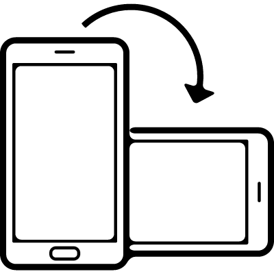 Phone position rotation from horizontal to vertical vector logo