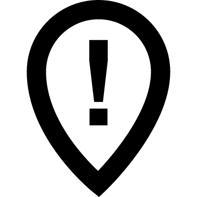 Place pointer with warning sign of exclamation vector logo