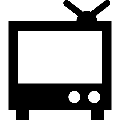 Television monitor with small antenna on top vector logo