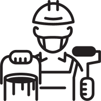 Painter with Helmet vector