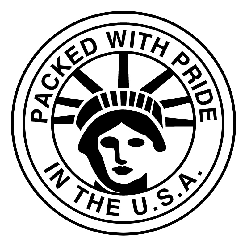 Packed with pride in the USA vector logo