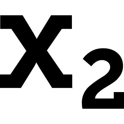 X2 symbol of a letter and a number, subscript logo