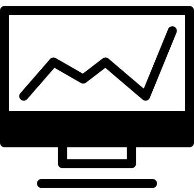Line graphic on a computer monitor in a circle vector logo