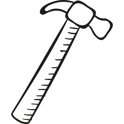 Inclined Hammer vector logo