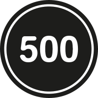 500 in a black circle with an outline vector