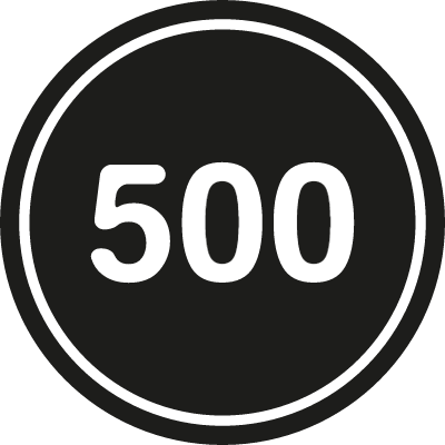 500 in a black circle with an outline vector logo
