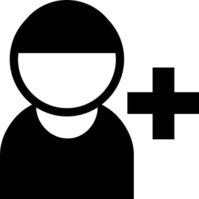 Male User with Plus Symbol vector logo