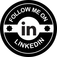 Follow me on LinkedIn social badge vector
