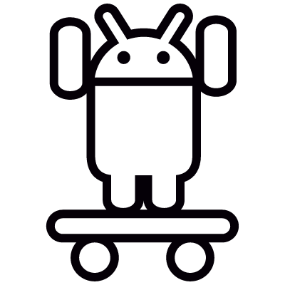 Android On Skateboard with Two Arms Up vector logo