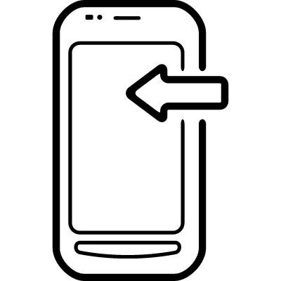 Mobile phone with an arrow sign on it pointing to left vector logo