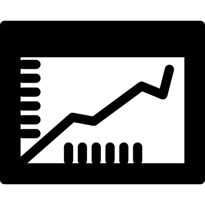 Graphic with ascending line inside a circle vector logo