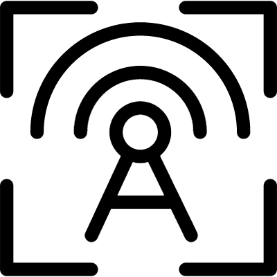 Wireless target outline symbol in a circle vector logo