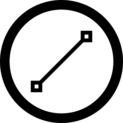 Line with dots straight symbol in a circle vector logo