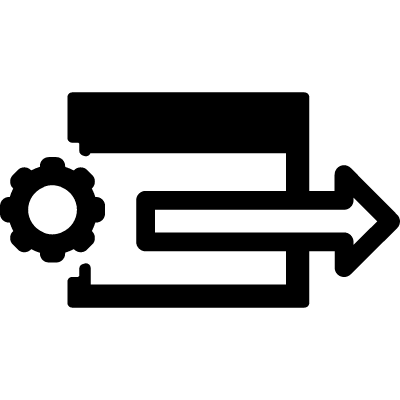 Browser window with a settings gear and a right arrow inside a circle vector logo