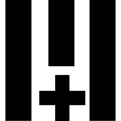 Three vertical lines with a cross vector logo