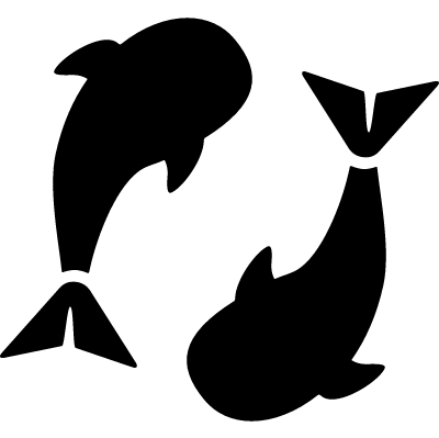 Whales swimming logo