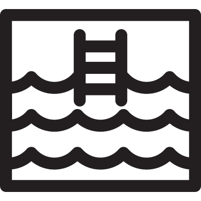 Swimming pool square with Ladder vector logo