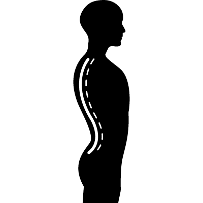 Column inside a male human body silhouette in side view vector logo