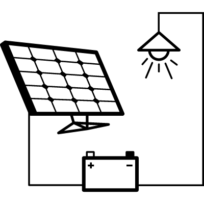 Light connected to battery and solar panel vector logo