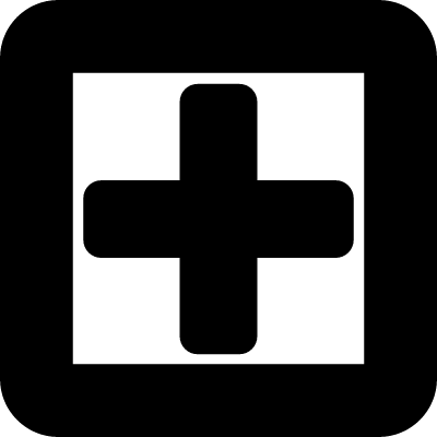 Plus sign in a square symbol of gross line vector logo