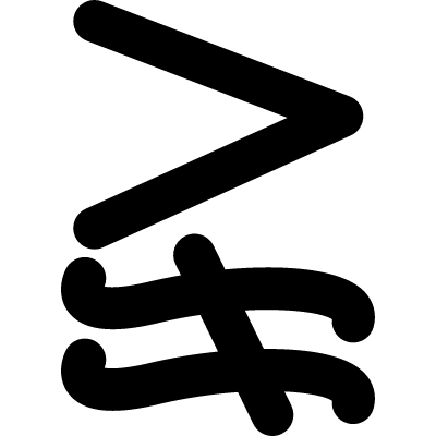 Greater and not approximately equal to mathematical symbol vector logo