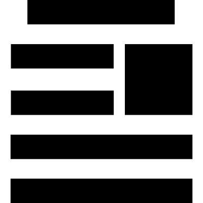 Horizontal lines symbol with one square vector logo
