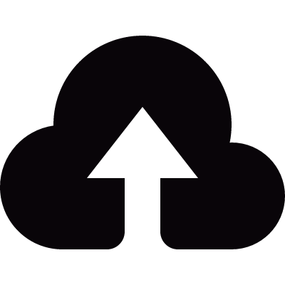 Small cloud upload symbol logo