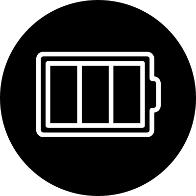 Battery outline in a circle vector logo