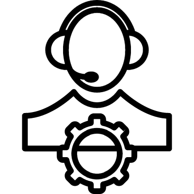 Person or personal setting outline symbol in a circle logo