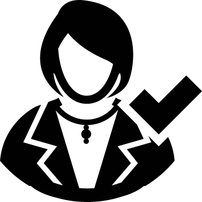 Modern Male User with Check Mark vector logo